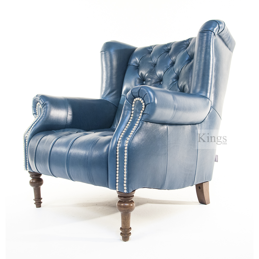 Alexander And James Theo Chair In Aqua Leather Kings