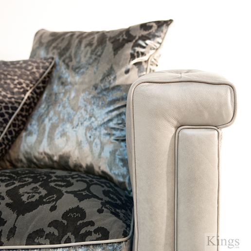 Alexander & James Isabel Maxi Sofa in Leather and Velvet Fabric Cushion Detail