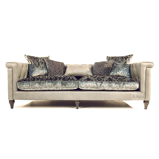 Alexander & James Isabel Maxi Sofa in Tote Storm Leather and Velvet Fabrics Available Stock