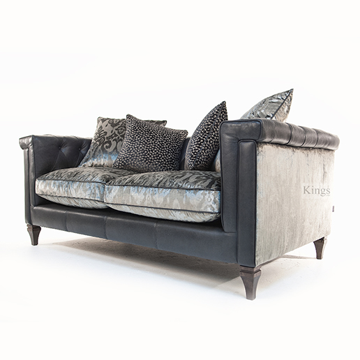 Alexander & James Isabel Midi Sofa in Tote Night Leather and Velvet Fabric