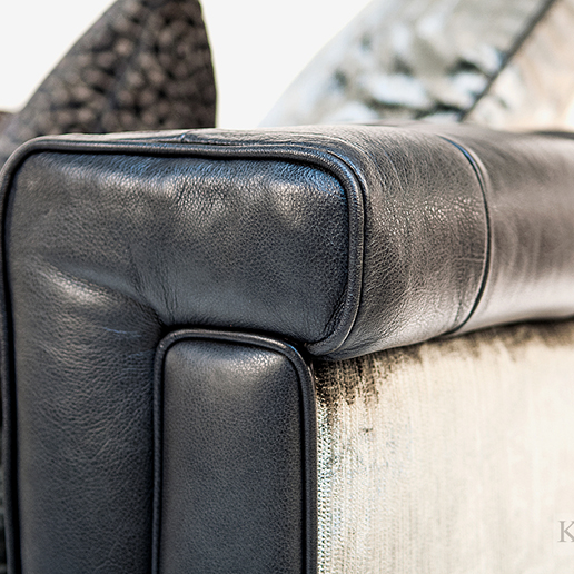 Alexander & James Isabel Midi Sofa in Tote Night Leather and Velvet Fabric Arm Detail