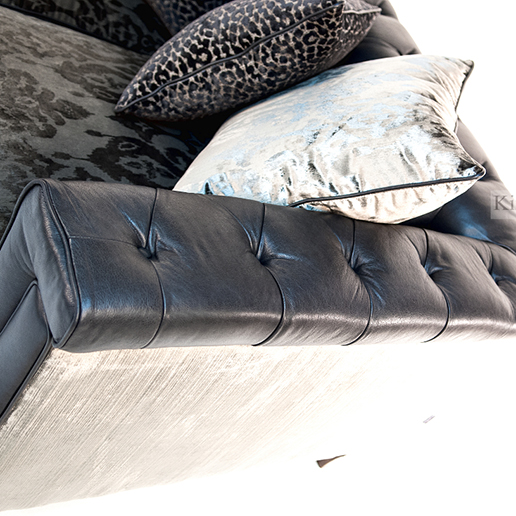 Alexander & James Isabel Midi Sofa in Tote Night Leather and Velvet Fabric Detail