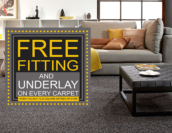 Free Fitting and Underlay With Every Carpet at Kings of Nottingham