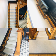 A wonderful stairs and landing using a 100% wool loop pile carpet finished with a contrasting cotton binding