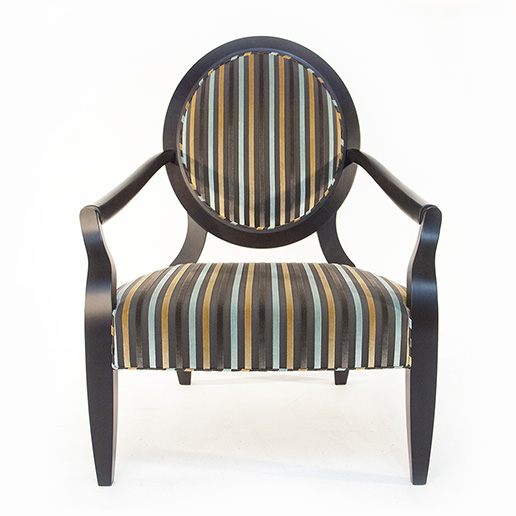 Duresta Nero Chair in Black Finish with Striped Fabric 2