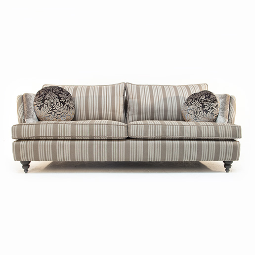 John Sankey Barouche in Neutral Stripe Fabric and Velvet Details 4