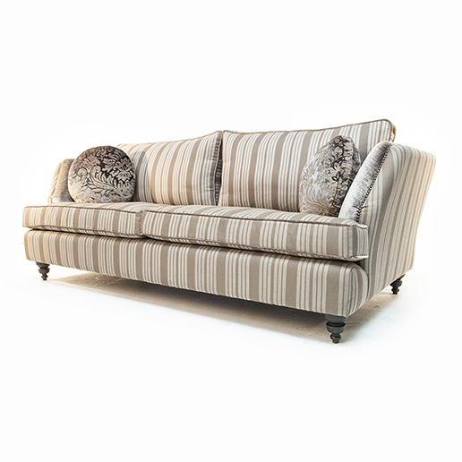 John Sankey Barouche in Neutral Stripe Fabric and Velvet Details