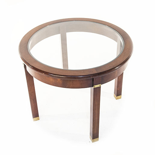 REH Kennedy Circular Cherry and Glass Side Table 2