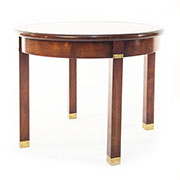 REH Kennedy Circular Cherry and Glass Side Table
