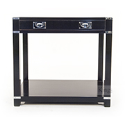 REH Kennedy Campaign Furniture Small Console With Draw Chrome on Black