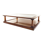 REH Kennedy Classic Coffee Table in Cherry with Glass Top