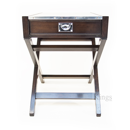 REH Kennedy Military Lamp Table Walnut and Chrome with Drawer 3