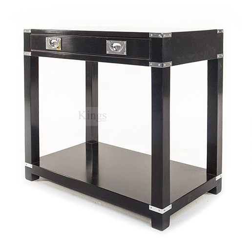 REH Kennedy Campaign Furniture Small Console With Draw Chrome on Black 4
