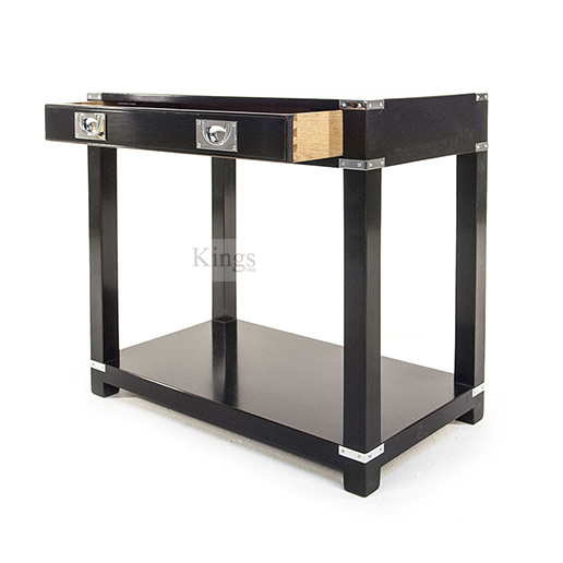 REH Kennedy Campaign Furniture Small Console With Draw Chrome on Black 3