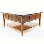 French Solid Cherry Wood Coffee Table With Drawer