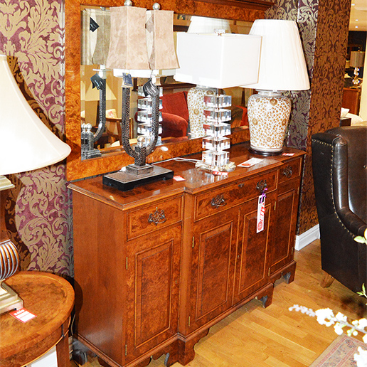 Charles Richardson Break Front Walnut Cabinet with Mirror