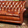 Contrast Upholstery Coleridge Leather Buttoned Back Sofa