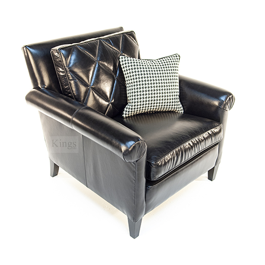 Duresta Gabrielle Sofa and Chair in Black Leather 4