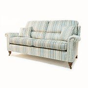 Duresta Southsea Minor Medium Sofa and Two Chairs in Claremont Stripe Mille Fleur Fabric