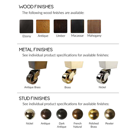 Duresta wood and Metal Finishes