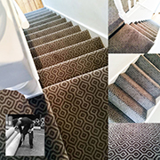 Hugh Mackay Moda Axminster fitted by Andy. A superb fitted stairs and landing, nice to see a few patterns starting to return.