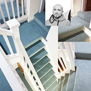 A sensational stairs landing fitted by our craftsman fitter Ben. Nice to see a bit of colour in this grey World