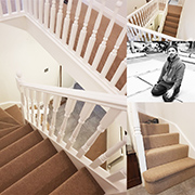 A beautifully fitted stairs and landing in Victoria Carpets Burford Twist by Ben.