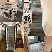 Stairs and Landing in a Loop Pile Stripe. Landing and stairs in a contrasting Luxury Pile.