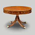 Iain James Furniture AMC404 Walnut Drum Table With Drawers And Skiver Top