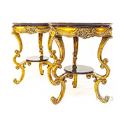Two Jansen Gilt and Rose Side Tables