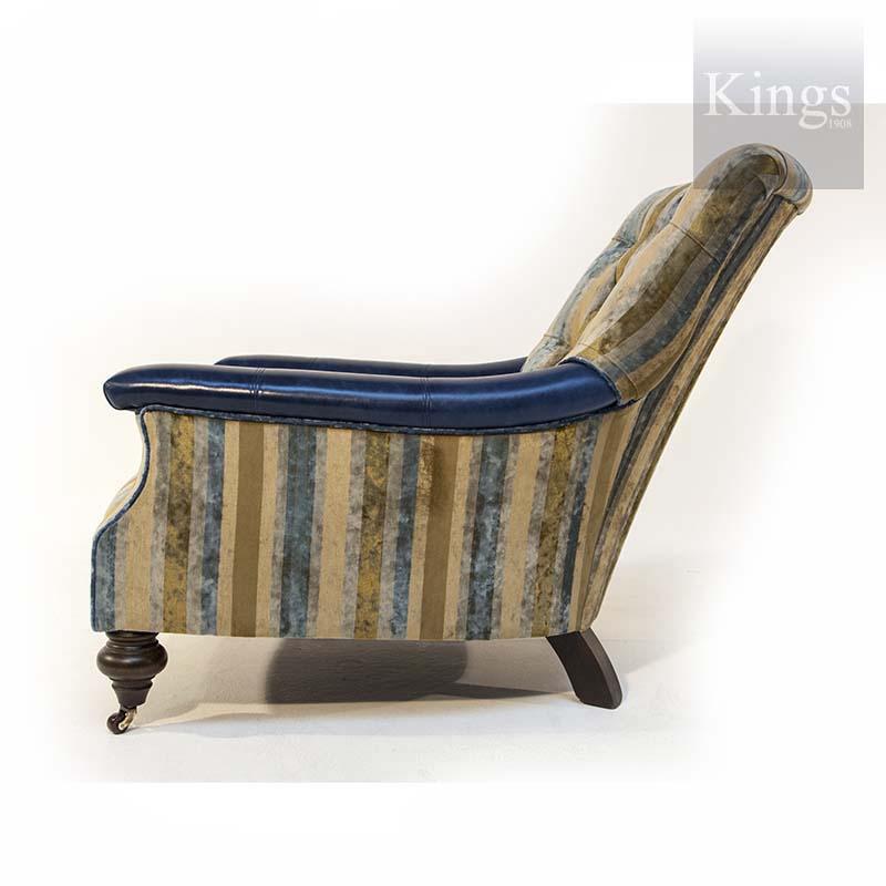 John Sankey Slipper Chair In Velvet With Blue Leather 2