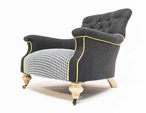 John Sankey Slipper Chair Black Wool With Dogtooth