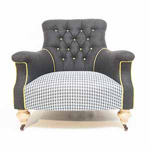 John Sankey Slipper Chair Black Wool With Dogtooth 5