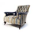 John Sankey Slipper Chair Striped Velvet and Blue Leather.