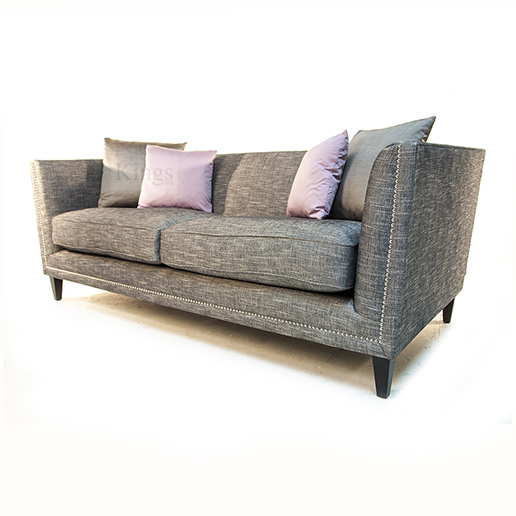 John sankey Tuxedo Sofa in Grey with Chrome Studs