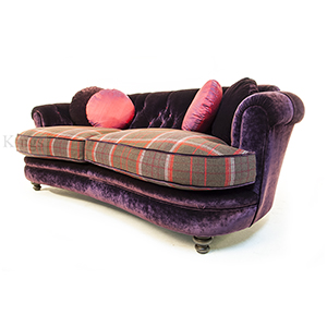 John Sankey Tolkien Sofa in Purple Velvet and Plaid Wool 2