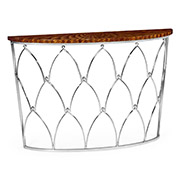 Jonathan Charles Icarus Collection Feather Inlay Demilune Console Table 495497 ZEB