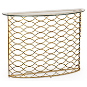 Jonathan Charles Select Collection Luxe Eglomise and Iron Interlaced Gilt and Glass Demilune Console Table ST 494569 / Jonathan Charles Fine Furniture at Kings always for the best service and prices