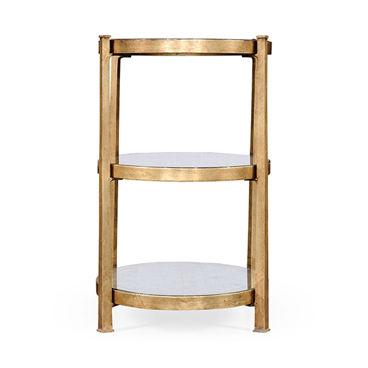 Jonathan Charles Luxe Eglomise and Iron Gilt Three Tier Table kl