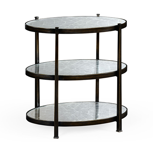 Jonathan Charles Luxe Eglomise and Iron Three Tier Table in Bronze d