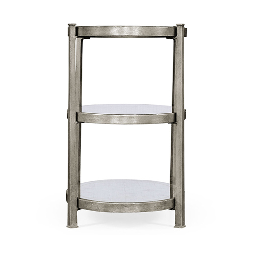 Jonathan Charles Luxe Eglomise and Iron Three Tier Table in Silver Leaf g