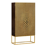 Jonathan Charles Op Art Four-Point Star 3D Geometric Cabinet 500020-WDG