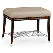 Jonathan Charles Soho Collection Macassar And Ebony Stool With White Brass Detail Upholstered In Mazo 495187