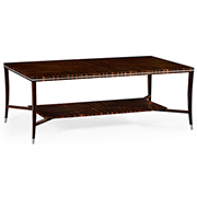 Jonathan Charles Soho Collection Macassar and Ebony Coffee Table with White Brass Detail 495166 AMA