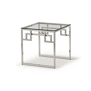Kesterport Cendrine Lamp Table Clear Glass and Polished Steel Frame