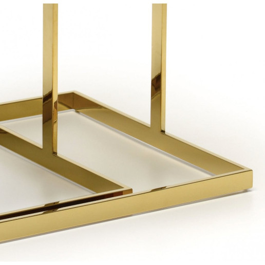 Kesterport Alpha Nest of Tables Bronzed Glass and Gold Frame Finish.2