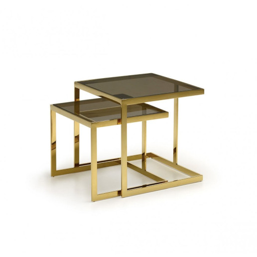 Kesterport Alpha Nest of Tables Bronzed Glass and Gold Frame Finish.