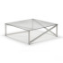 Kesterport Alpina Coffee Table Clear Glass and Polished Steel Frame