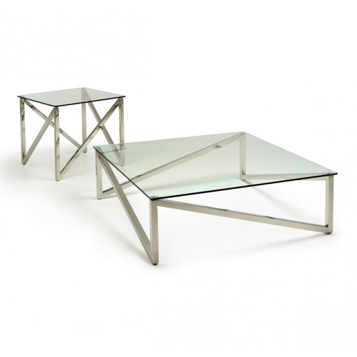 Kesterport Alpina Coffee Table Clear Glass and Polished Steel Frame2