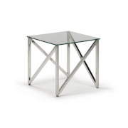 Kesterport Alpina Glass Lamp Table Clear Glass and Polished Steel Frame